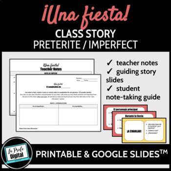 ¡Una fiesta! Preterite Imperfect TPRS-style Class Story (Spanish)