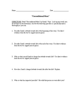 """""""Unconditional Mom"""" by Sarah J. Vogt Reading Analysis Questions"""