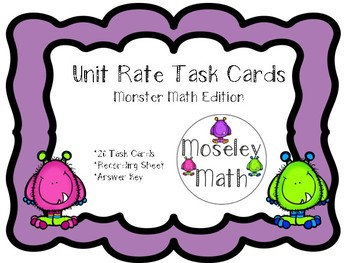 **Unit Rate Task Cards with Recording Sheet and Answer Key**