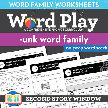 -Unk Word Family Worksheets No Prep Short Vowel U Chunk Spelling