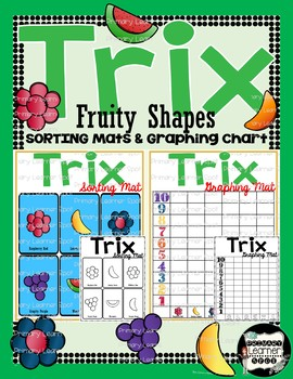 """Updated New Fruity Shapes"" Trix Sorting Mats and Graphing Chart Math Centers"