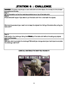 """Using the Force"" Lab Stations Activity"
