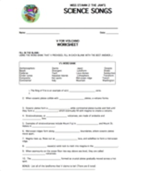 """V For Volcano"" Lyric Sheet, Worksheet, and Answer Key"