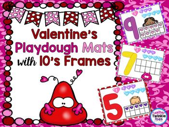 *VALENTINE FREEBIE #2* Playdough Mats with 10's Frames!