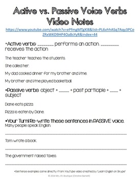Active and Passive Voice Verbs for Interactive Student Notebooks