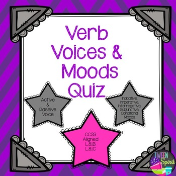 Verbs- Active/Passive Voice and Mood Quiz with Answer Key
