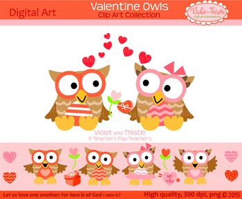 Valentine Owls Clipart Set 2 Valentine Clip Art