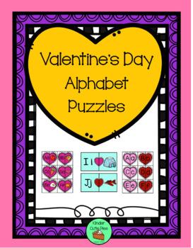 *Valentine's Day* Alphabet Puzzles - Beg. Sound & Upper-Lower matching