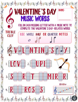 Valentines Day Music Activity Valentines Day Word Letter Note Fill Ins