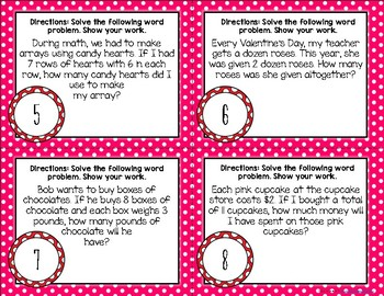 {Valentines} Multiplication Word Problem Task Cards