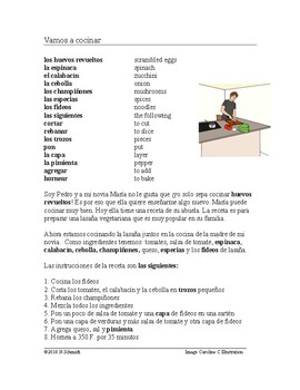 Vamos a cocinar Lectura - Spanish Reading on Cooking (Commands / Imperativos)
