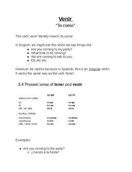'Venir' notes