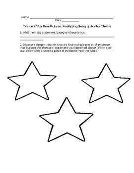 """""""Vincent"""" Theme Activity (use with the song """"Vincent"""" by Don McLean)"""