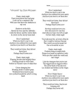 """Vincent"" by Don McLean Activity"