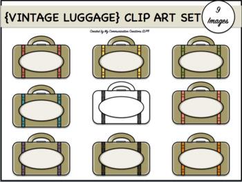 {Vintage Luggage} Clip Art Set: 9 Images