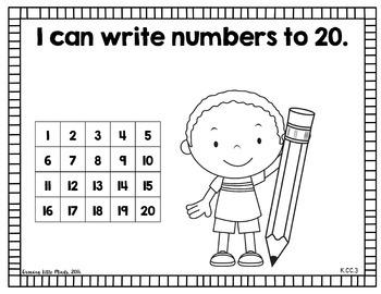 "*Visual ""I Can"" Statements for Kindergarten Common Core Standards- Blackline"