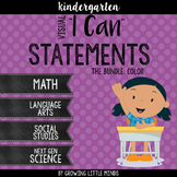 "*Visual ""I Can"" Statements for Kindergarten Common Core Standards- Color"
