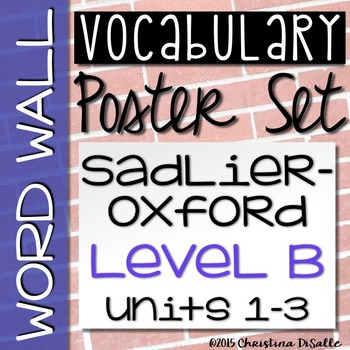 {Vocabulary Workshop} Word Wall - Level B - Units 1-3