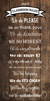 """""""WE DO"""" Classroom Rules Poster Banner 1.5'x3' feet!!"""