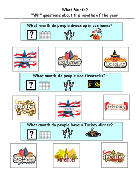 """""""WH"""" Adapted Visual Questions About The Months Of The Year"""