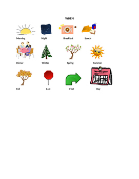 """""""WH"""" Picture Cards for Writing and Story Comprehension"""