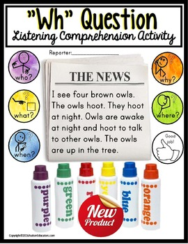 WH Questions Listening Comprehension Activity for Autism a