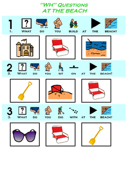 """""""WH"""" Questions: At The Beach (Visual, Speech, Autism)"""