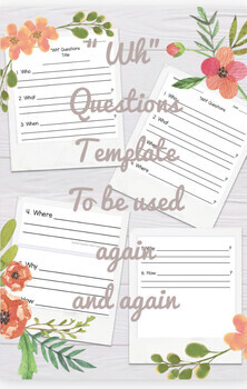 """""""WH"""" Questions Template (to be used for any book)"""