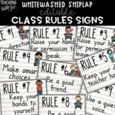 {WHITEWASHED SHIPLAP} Editable Class Rules Signs