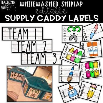 {WHITEWASHED SHIPLAP} Editable Supply Caddy Labels