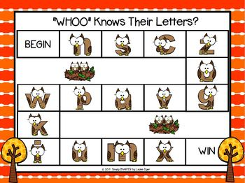 """WHOO"" Knows Their Letters?:  NO PREP Owl Themed Letter Identification Game"