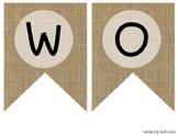 """WORD WALL"" Farmhouse Burlap Focus Wall Pennant / Banner"