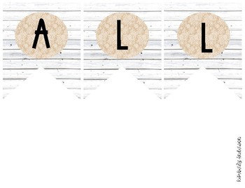"""WORD WALL"" White Wood / Shiplap and Burlap Lace: Focus Wall Pennant / Banner"