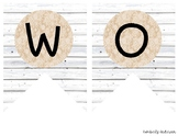 """""""WORD WALL"""" White Wood / Shiplap and Burlap Lace: Focus Wa"""