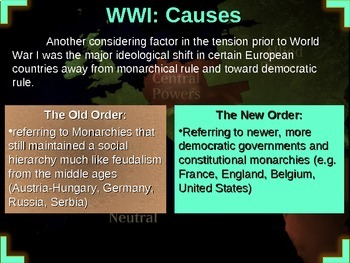 WORLD WAR ONE (PART 1 CAUSES) rich text, visuals, engaging, w graphic organizer