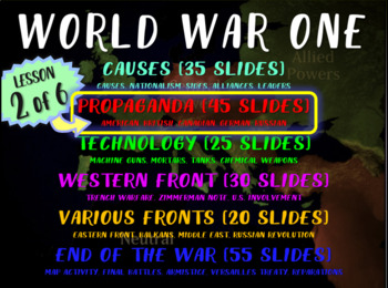 WORLD WAR ONE (PART 2 PROPAGANDA) rich text visual engaging w graphic organizer
