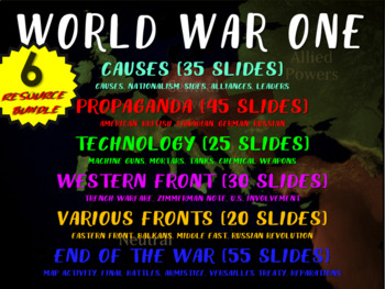 . WORLD WAR ONE UNIT (ALL 6 PARTS of the 215 slide PPT) textual visual engaging