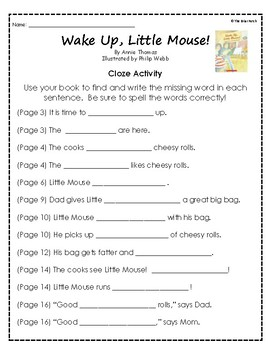 """""""Wake Up, Little Mouse!"""" Activities for Reading, Writing, and Comprehension"""