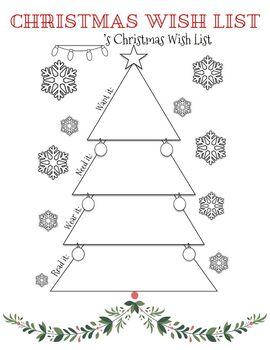 """Want, Need, Wear, Read"" Christmas Wish List"
