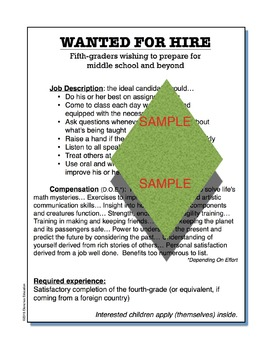 """""""Wanted for Hire"""" motivational expectations classroom poster"""