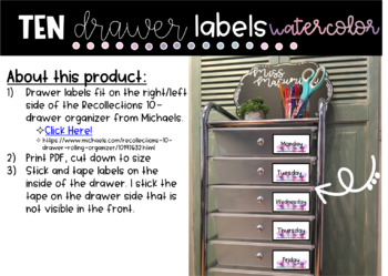 *Watercolor* 10-Drawer Labels