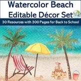 **Watercolor BEACH Decor Set** {Editable 300+ Pgs, 30 Reso