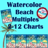 **Watercolor Beach Decor** Multiplication Multiples 2-12 C
