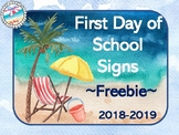 **Watercolor Beach Decor** First Day of School Signs {Free
