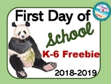 **Watercolor Pandas** 1st Day of Schools 2018-2019 Signs K