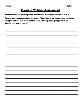 """""""Watsons Go to Bimingham"""" by Christopher Paul Curtis Creative Writing"""