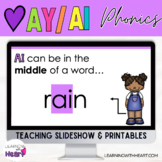 """We Love AY & AI"" Long A Phonics Practice Slideshow and Printables"