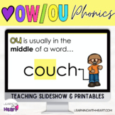 """""""We Love OW & OU"""" Diphthongs Phonics Practice Slideshow and Printables"""