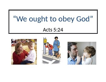 """We Ought To Obey God"" Acts 5:24 Bible Verse Poster"