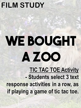 'We bought a Zoo' - Creative comprehension TIC TAC TOE task